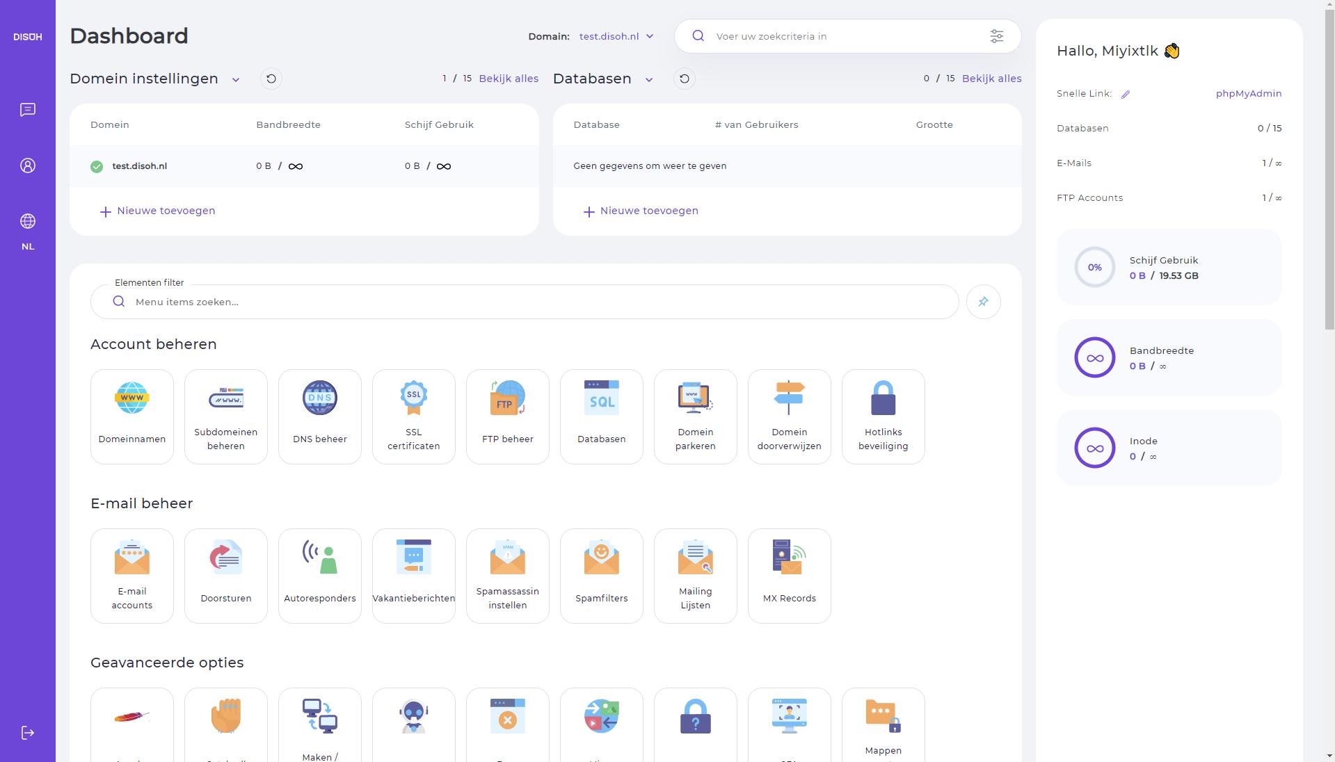 DirectAdmin is de plek waar je alles kan vinden dat te maken heeft met je webhostingpakket.